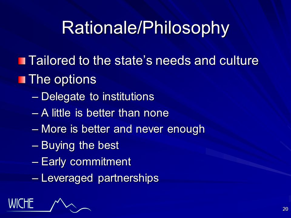 20 Rationale/Philosophy Tailored to the state's needs and culture The options –Delegate to institutions –A little is better than none –More is better and never enough –Buying the best –Early commitment –Leveraged partnerships