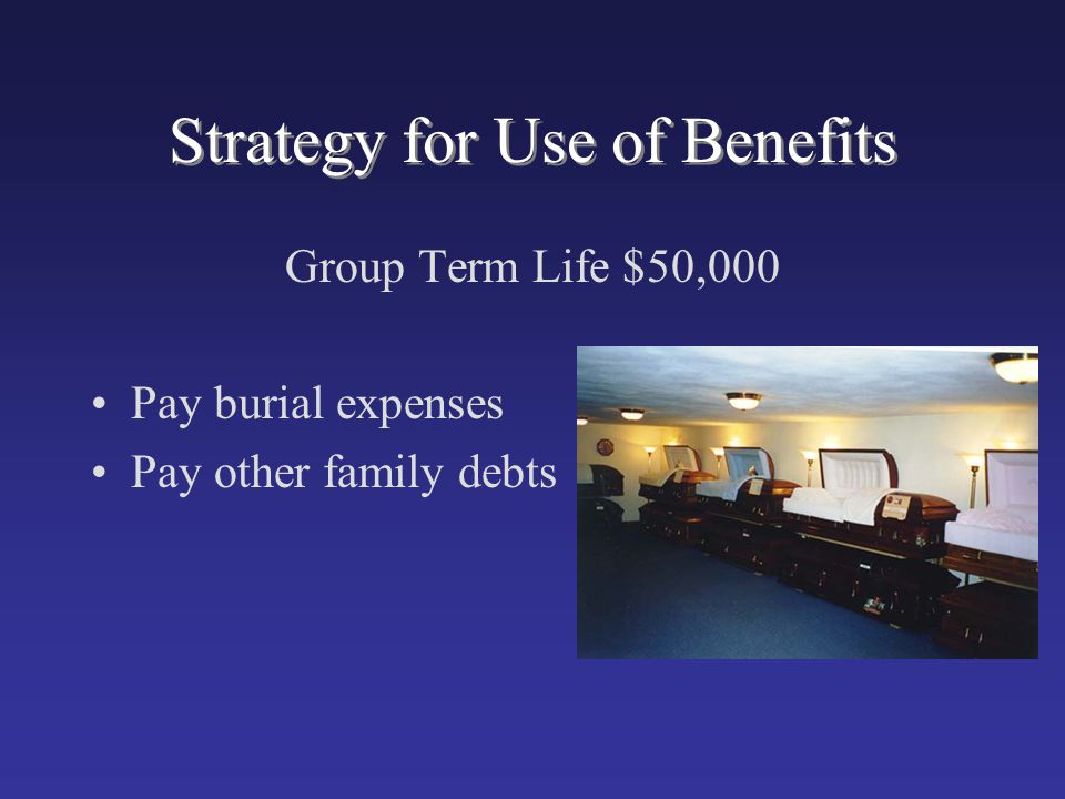 Strategy for Use of Benefits Group Term Life $50,000 Pay burial expenses Pay other family debts
