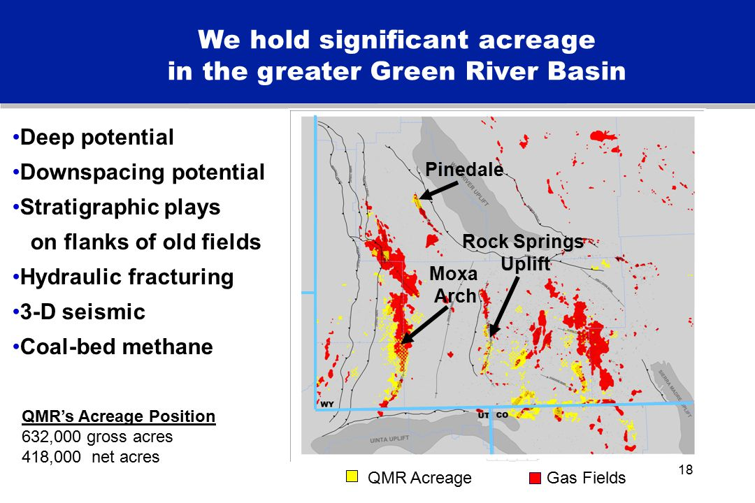 18 We hold significant acreage in the greater Green River Basin Deep potential Downspacing potential Stratigraphic plays on flanks of old fields Hydraulic fracturing 3-D seismic Coal-bed methane Pinedale Moxa Arch Rock Springs Uplift Uplift QMR AcreageGas Fields QMR's Acreage Position 632,000 gross acres 418,000 net acres
