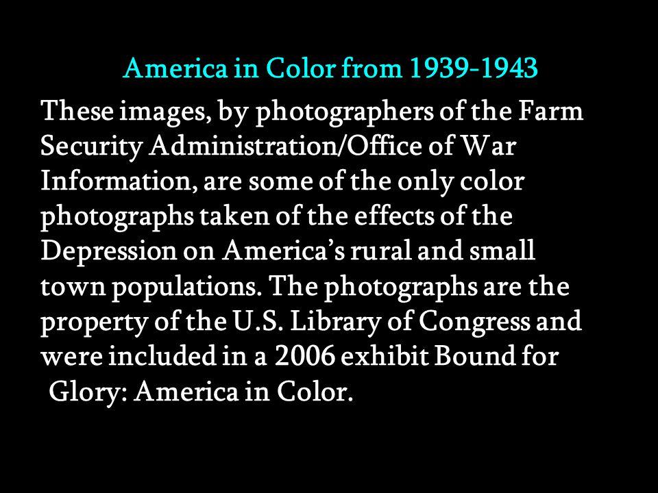 L'Amérique en couleur de 1939-1943 (America's secret) Manual advance