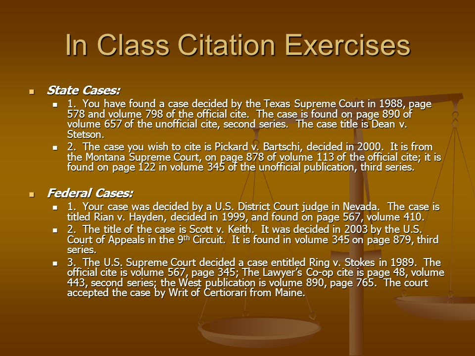In Class Citation Exercises State Cases: State Cases: 1.