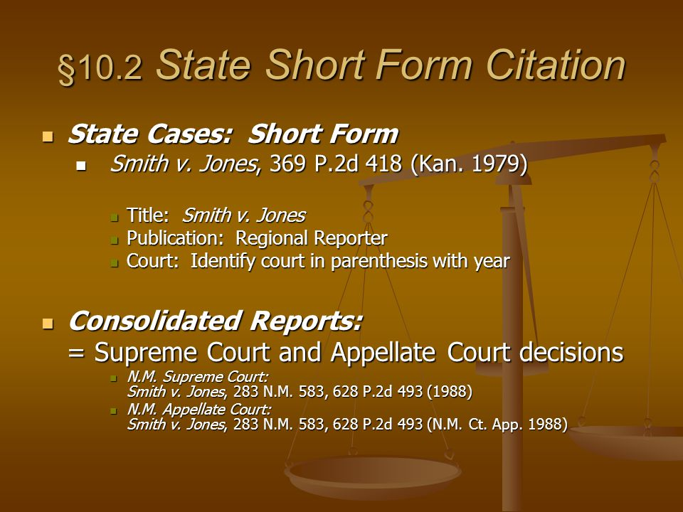 Chapter 10 Citation Form Citation = a legal address. - ppt download