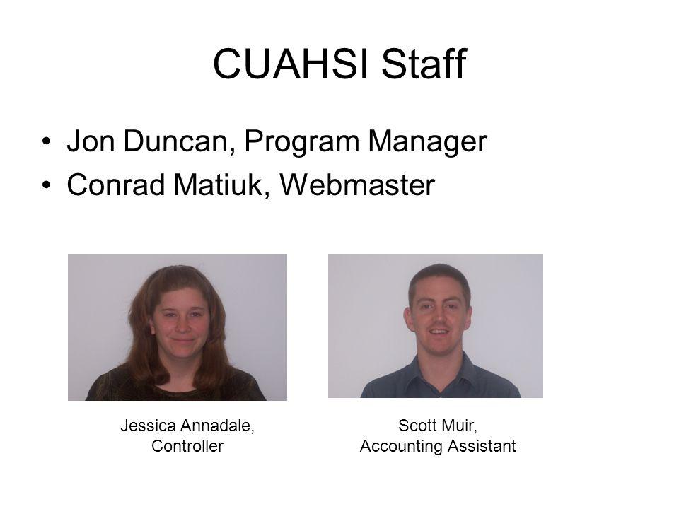 CUAHSI Staff Jon Duncan, Program Manager Conrad Matiuk, Webmaster Jessica Annadale, Controller Scott Muir, Accounting Assistant