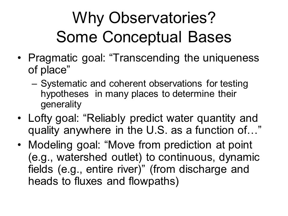 Why Observatories.
