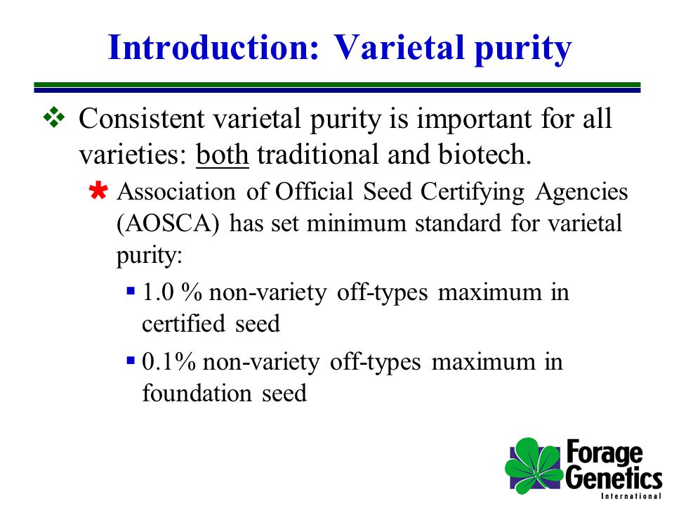 Introduction: Varietal purity  Consistent varietal purity is important for all varieties: both traditional and biotech.