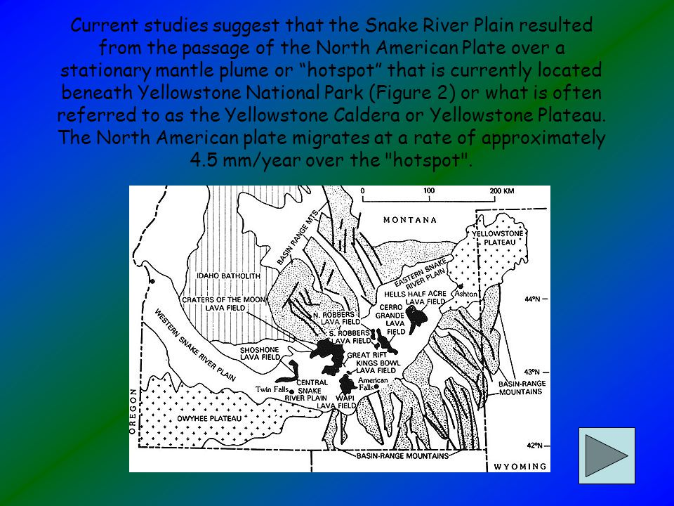 Current studies suggest that the Snake River Plain resulted from the passage of the North American Plate over a stationary mantle plume or hotspot that is currently located beneath Yellowstone National Park (Figure 2) or what is often referred to as the Yellowstone Caldera or Yellowstone Plateau.