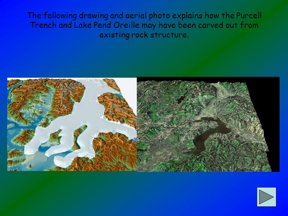 The following drawing and aerial photo explains how the Purcell Trench and Lake Pend Oreille may have been carved out from existing rock structure.