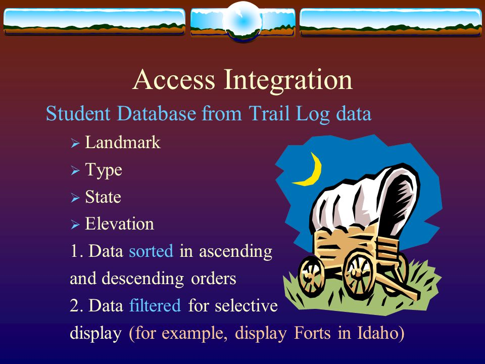 Access Integration Student Database from Trail Log data  Landmark  Type  State  Elevation 1.