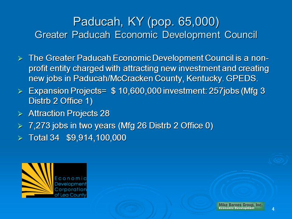 Paducah, KY (pop. 65,000) Greater Paducah Economic Development Council  The Greater Paducah Economic Development Council is a non- profit entity char