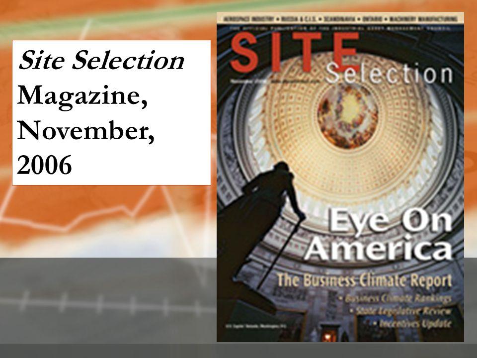 Site Selection Magazine, November, 2006