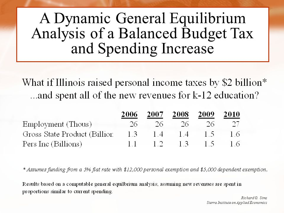 A Dynamic General Equilibrium Analysis of a Balanced Budget Tax and Spending Increase Richard G.