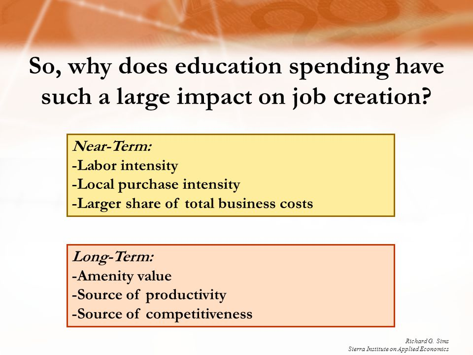 Long-Term: -Amenity value -Source of productivity -Source of competitiveness So, why does education spending have such a large impact on job creation?