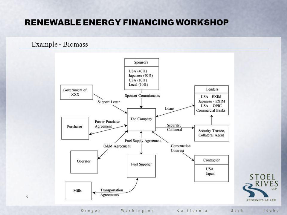 RENEWABLE ENERGY FINANCING WORKSHOP Example - Biomass 9