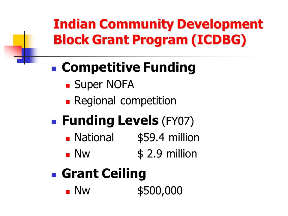 Indian Community Development Block Grant Program (ICDBG) Competitive Funding Super NOFA Regional competition Funding Levels (FY07) National$59.4 million Nw$ 2.9 million Grant Ceiling Nw$500,000