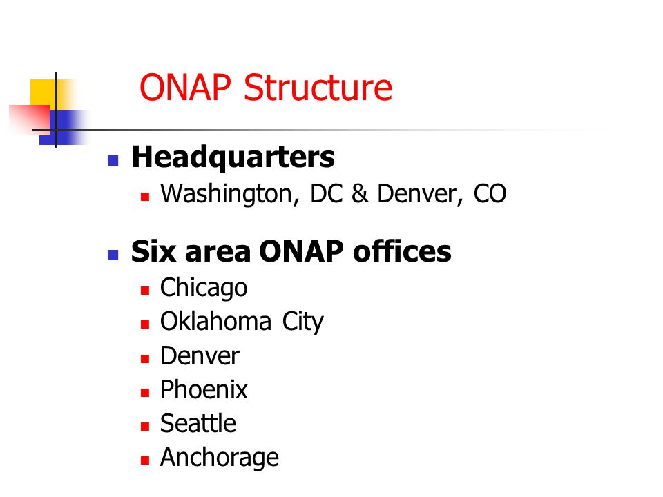 ONAP Structure Headquarters Washington, DC & Denver, CO Six area ONAP offices Chicago Oklahoma City Denver Phoenix Seattle Anchorage