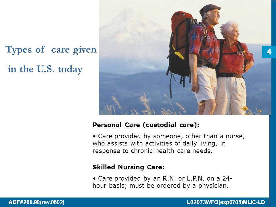ADF#268.98(rev.0602) L02073WFO(exp0705)MLIC-LD Types of care given in the U.S.