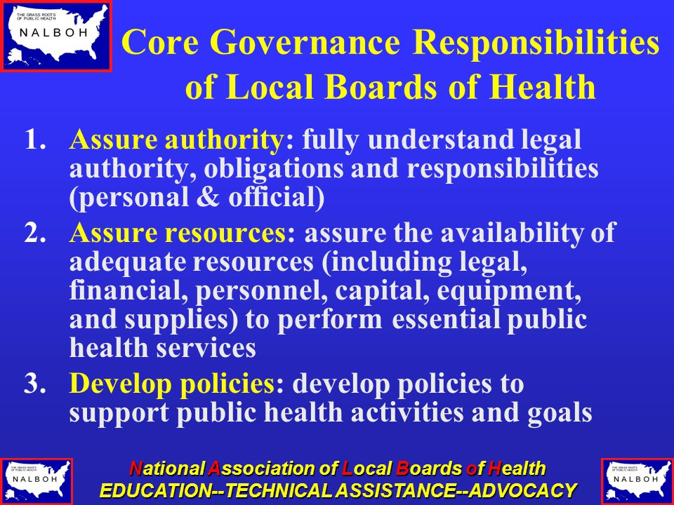 National Association of Local Boards of Health EDUCATION--TECHNICAL ASSISTANCE--ADVOCACY Core Governance Responsibilities of Local Boards of Health 1.Assure authority: fully understand legal authority, obligations and responsibilities (personal & official) 2.Assure resources: assure the availability of adequate resources (including legal, financial, personnel, capital, equipment, and supplies) to perform essential public health services 3.Develop policies: develop policies to support public health activities and goals