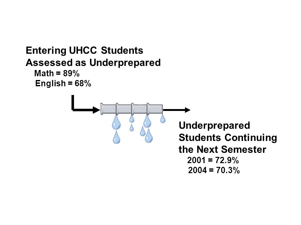 Entering UHCC Students Assessed as Underprepared Math = 89% English = 68% Underprepared Students Continuing the Next Semester 2001 = 72.9% 2004 = 70.3%