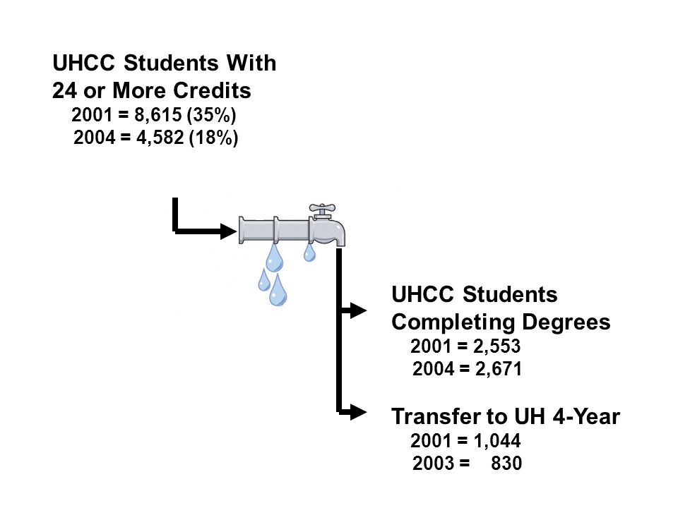 UHCC Students With 24 or More Credits 2001 = 8,615 (35%) 2004 = 4,582 (18%) UHCC Students Completing Degrees 2001 = 2,553 2004 = 2,671 Transfer to UH 4-Year 2001 = 1,044 2003 = 830