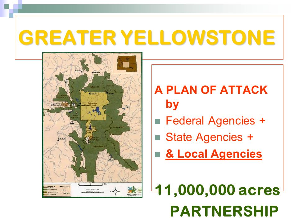 GREATER YELLOWSTONE A PLAN OF ATTACK by Federal Agencies + State Agencies + & Local Agencies 11,000,000 acres PARTNERSHIP Covers entire park!!!