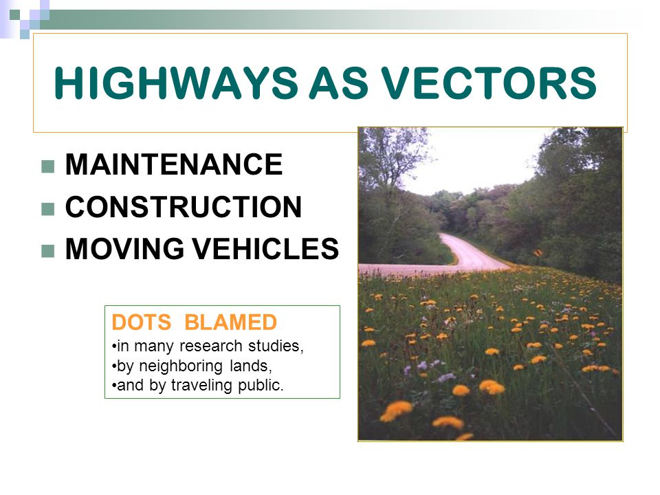HIGHWAYS AS VECTORS MAINTENANCE CONSTRUCTION MOVING VEHICLES DOTS BLAMED in many research studies, by neighboring lands, and by traveling public.
