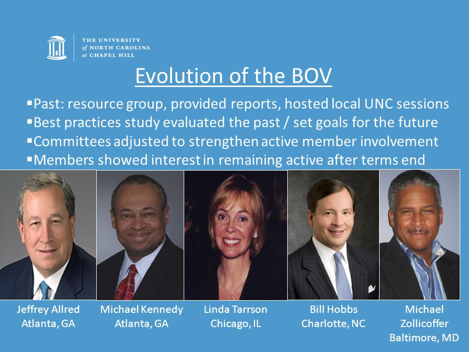 Evolution of the BOV Bill Hobbs Charlotte, NC Michael Zollicoffer Baltimore, MD  Past: resource group, provided reports, hosted local UNC sessions  Best practices study evaluated the past / set goals for the future  Committees adjusted to strengthen active member involvement  Members showed interest in remaining active after terms end Michael Kennedy Atlanta, GA Linda Tarrson Chicago, IL Jeffrey Allred Atlanta, GA