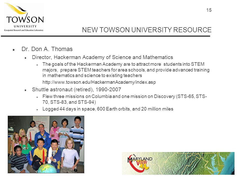 15 NEW TOWSON UNIVERSITY RESOURCE l Dr. Don A.