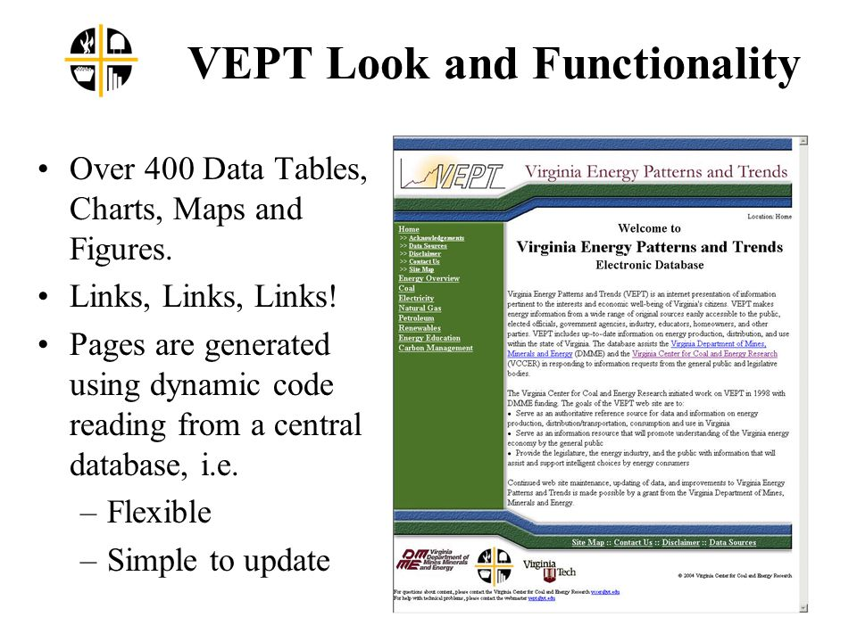 VEPT Look and Functionality Over 400 Data Tables, Charts, Maps and Figures.