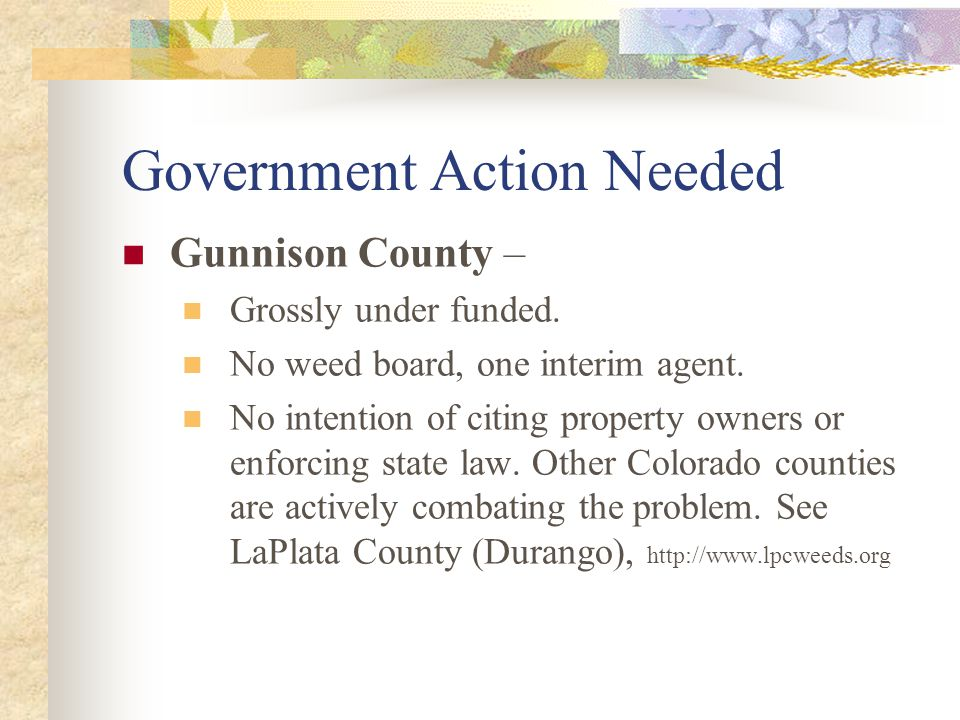 Government Action Needed Gunnison County – Grossly under funded.