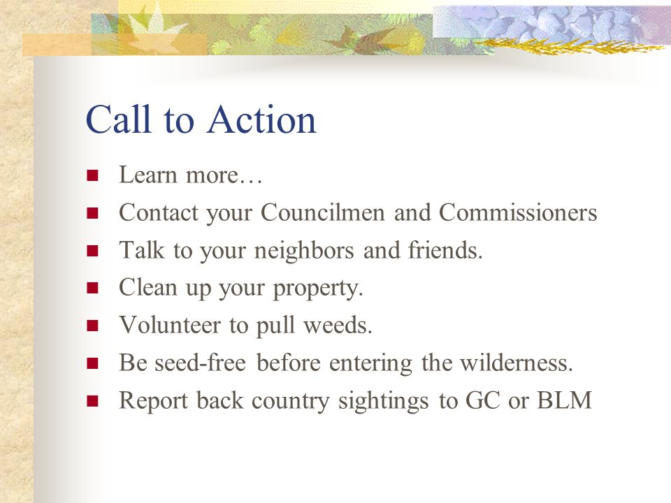 Call to Action Learn more… Contact your Councilmen and Commissioners Talk to your neighbors and friends.