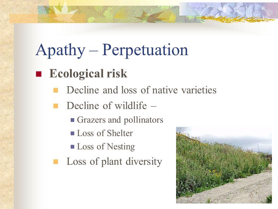 Apathy – Perpetuation Environmental risk Increased evaporation Desert encroachment Increased erosion