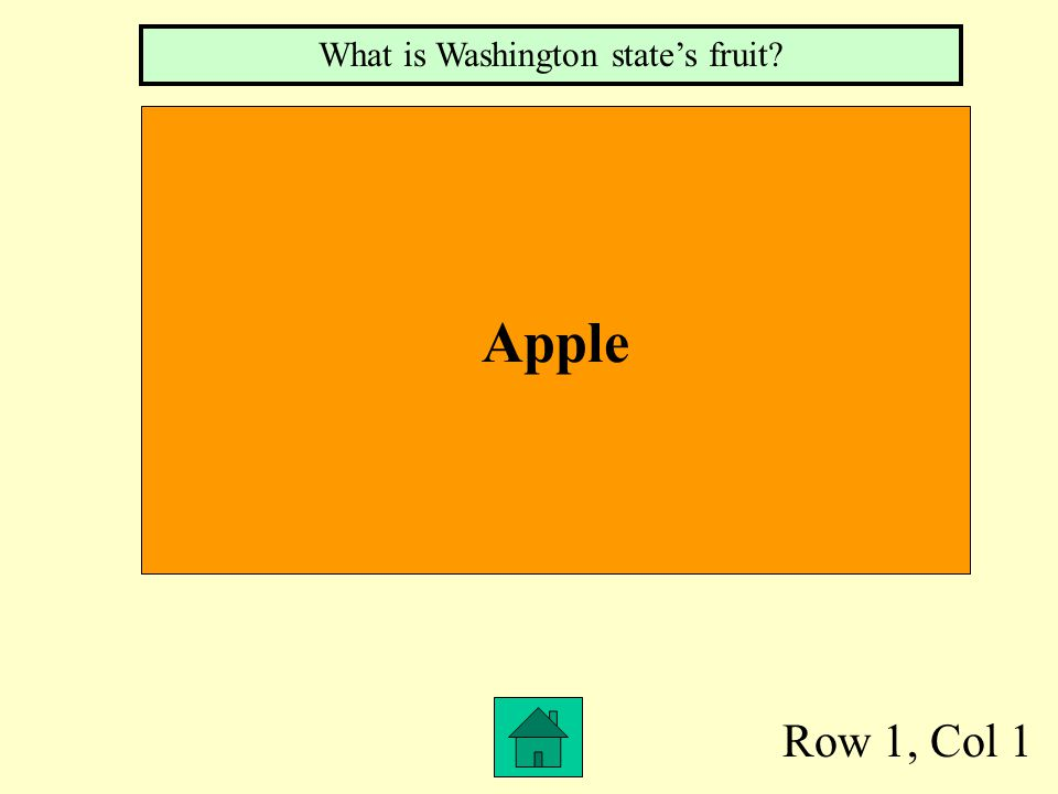 Row 1, Col 1 Apple What is Washington state's fruit?