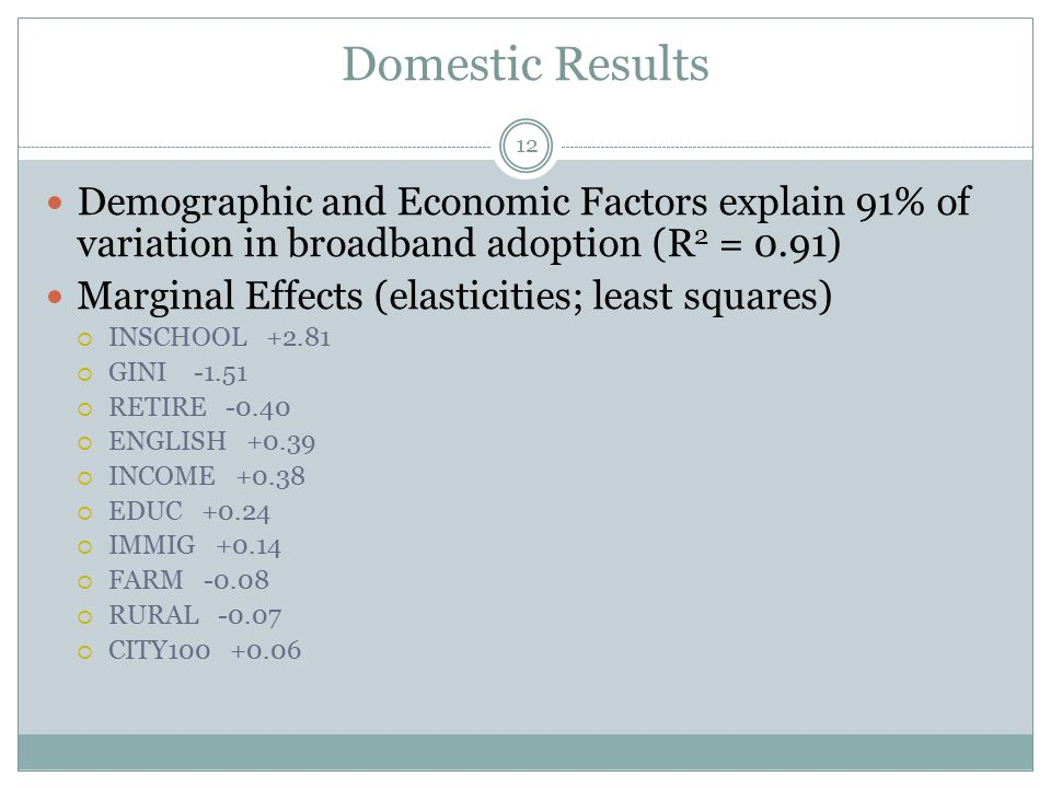 Domestic Results Demographic and Economic Factors explain 91% of variation in broadband adoption (R 2 = 0.91) Marginal Effects (elasticities; least squares)  INSCHOOL +2.81  GINI -1.51  RETIRE -0.40  ENGLISH +0.39  INCOME +0.38  EDUC +0.24  IMMIG +0.14  FARM -0.08  RURAL -0.07  CITY100 +0.06 12
