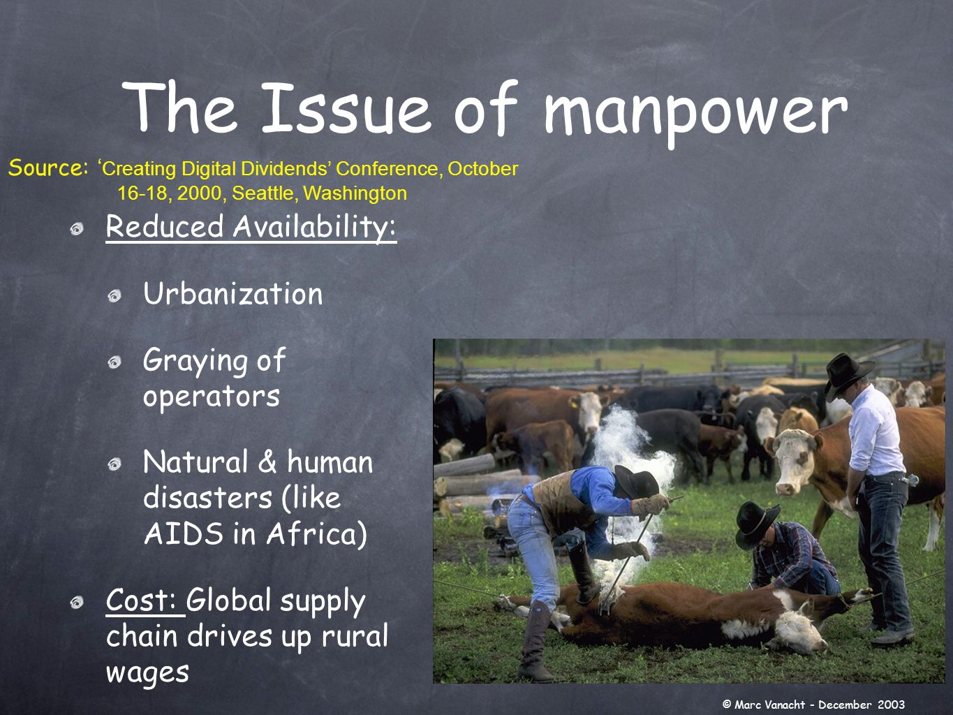 Concentration in the food chain (agriculture, transformation, processing & marketing) Power of retailers In US: value of agriculture = 15 % of value of food In US: 50 % of food $$ out of the home ➥ Need for further integration into the food chain Shifting Economic Power © Marc Vanacht - December 2003