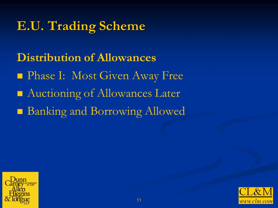 11 E.U. Trading Scheme Distribution of Allowances Phase I: Most Given Away Free Auctioning of Allowances Later Banking and Borrowing Allowed