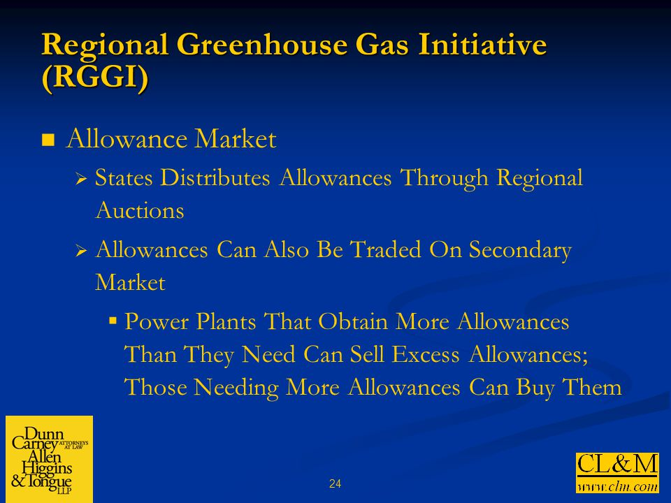 24 Regional Greenhouse Gas Initiative (RGGI) Allowance Market  States Distributes Allowances Through Regional Auctions  Allowances Can Also Be Traded On Secondary Market  Power Plants That Obtain More Allowances Than They Need Can Sell Excess Allowances; Those Needing More Allowances Can Buy Them