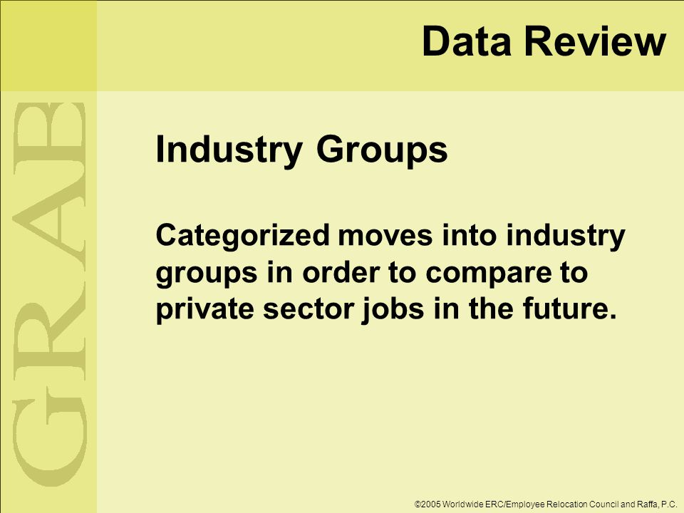 Data Review Industry Groups Categorized moves into industry groups in order to compare to private sector jobs in the future.