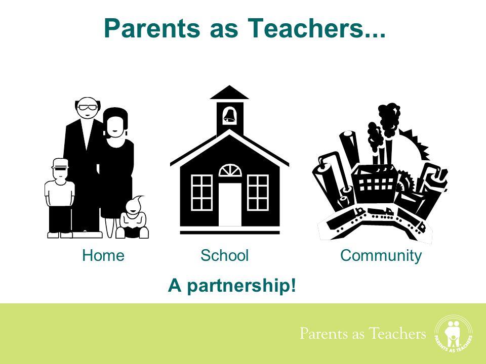 Parents as Teachers Parents as Teachers... A partnership! HomeSchoolCommunity