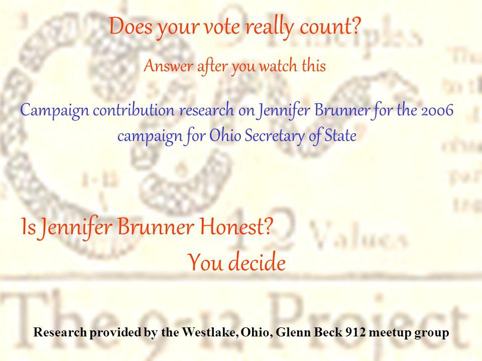 Is Jennifer Brunner Honest.