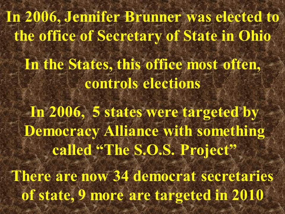 Be patient, just a few more of Jennifer Brunner's large, out of state contributors and who they are Deborah and Andy Rappaport, Woodside, CA, $20,000, Founders of New Democratic Network, another organization funded by Democracy Alliance Philip D.