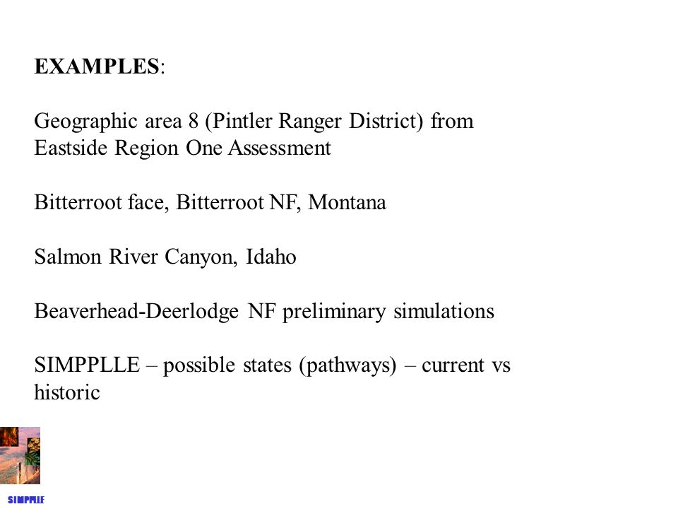 EXAMPLES: Geographic area 8 (Pintler Ranger District) from Eastside Region One Assessment Bitterroot face, Bitterroot NF, Montana Salmon River Canyon, Idaho Beaverhead-Deerlodge NF preliminary simulations SIMPPLLE – possible states (pathways) – current vs historic SIMPPLLE