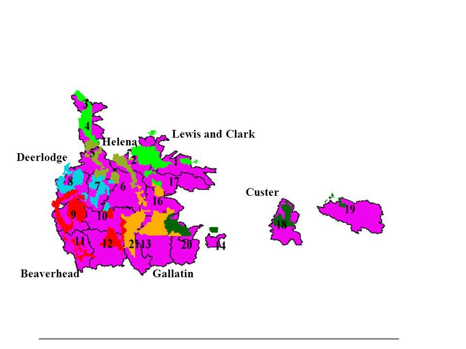 Gallatin Custer Deerlodge Beaverhead Helena Lewis and Clark