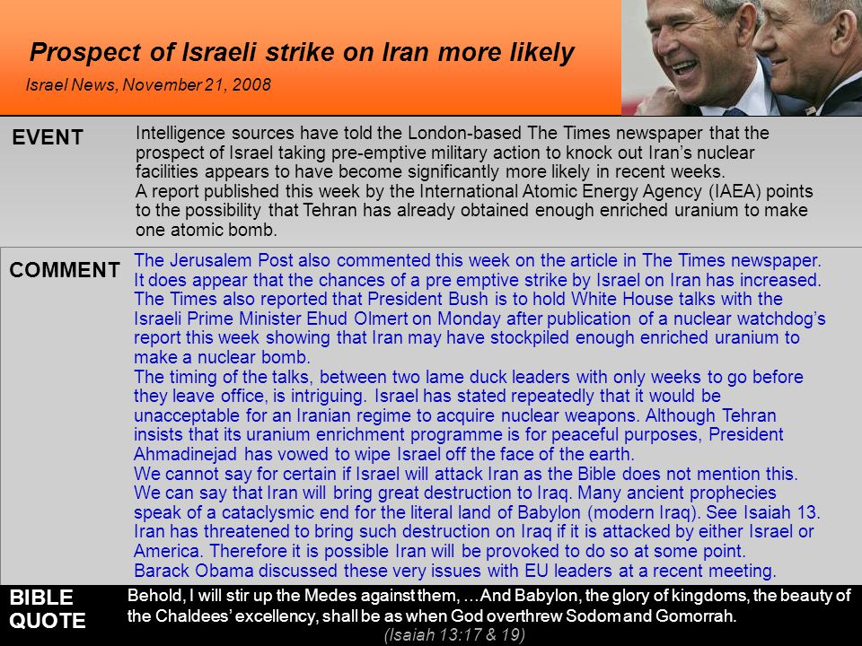 Prospect of Israeli strike on Iran more likely The Jerusalem Post also commented this week on the article in The Times newspaper.