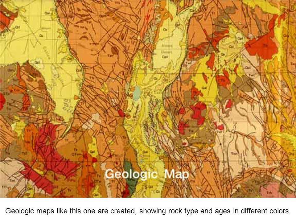 Geologic maps like this one are created, showing rock type and ages in different colors.