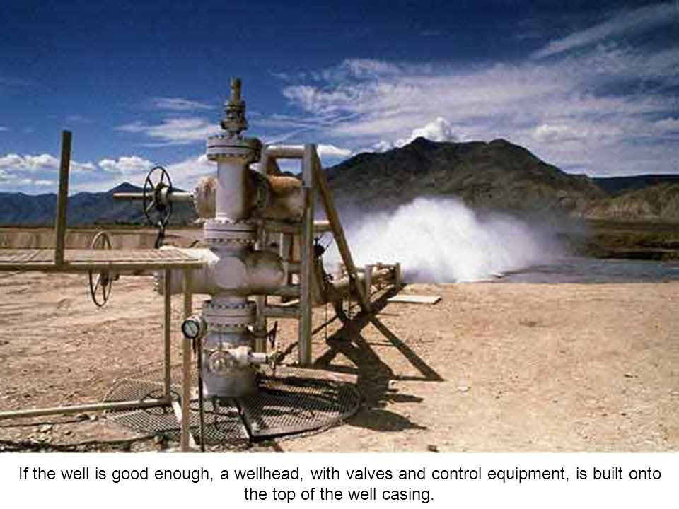 This photograph shows a vertical geothermal well test in the Nevada Desert.