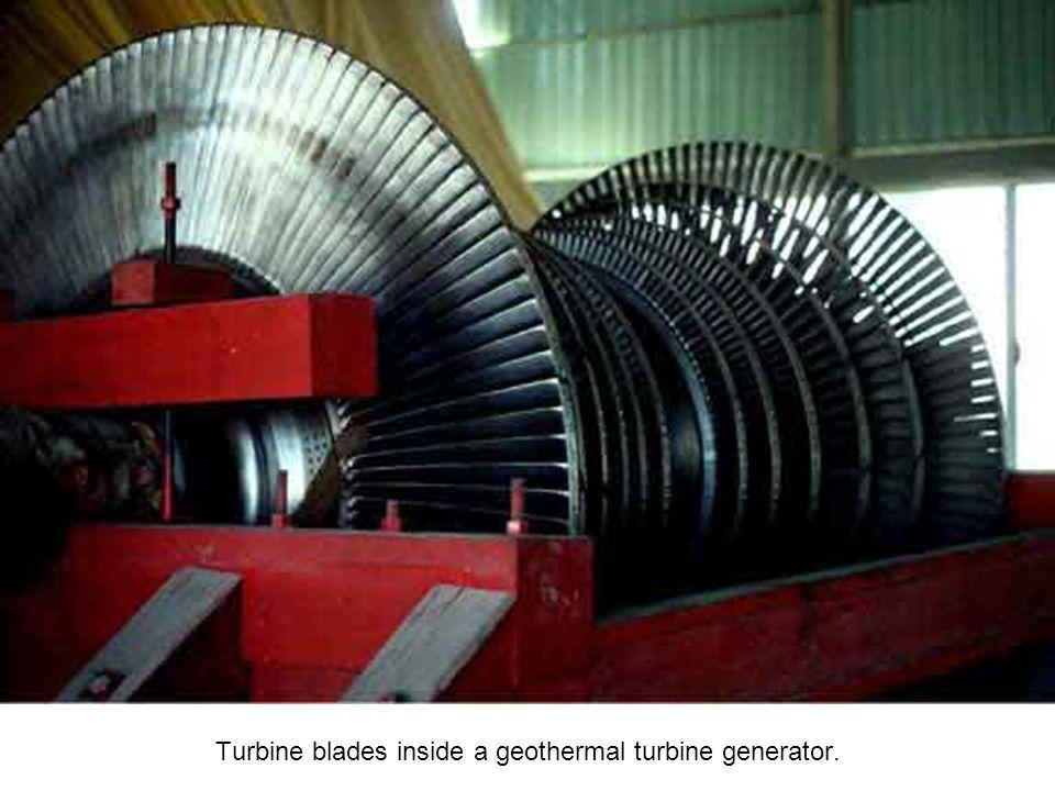 Turbine blades inside a geothermal turbine generator.