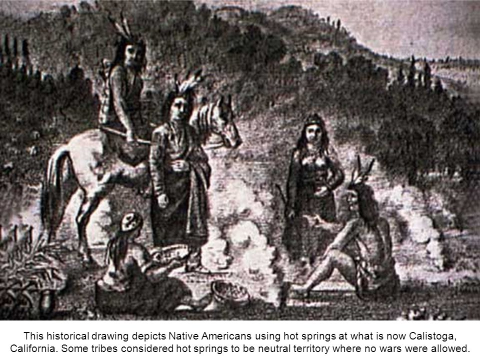 This historical drawing depicts Native Americans using hot springs at what is now Calistoga, California.