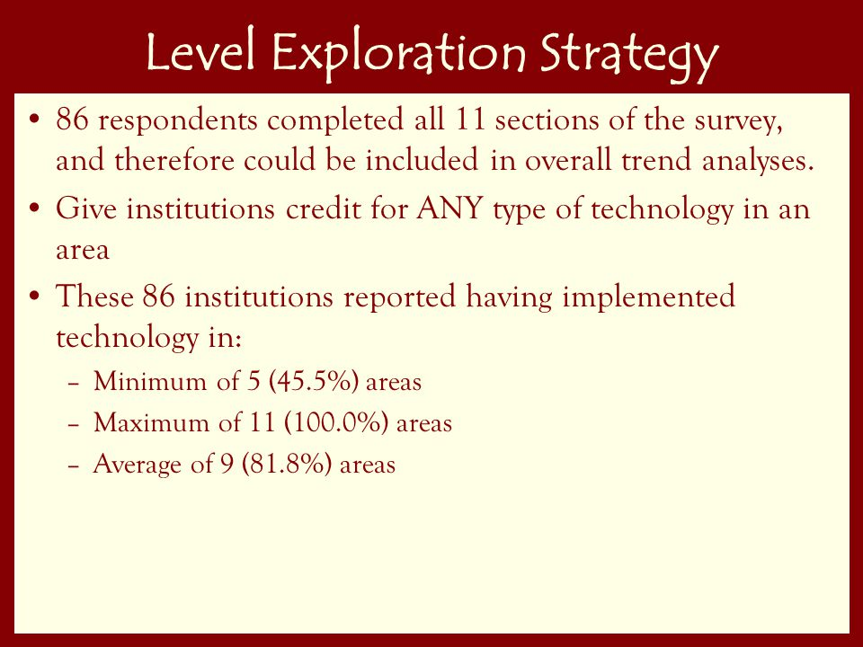 50 Level Exploration Strategy 86 respondents completed all 11 sections of the survey, and therefore could be included in overall trend analyses.