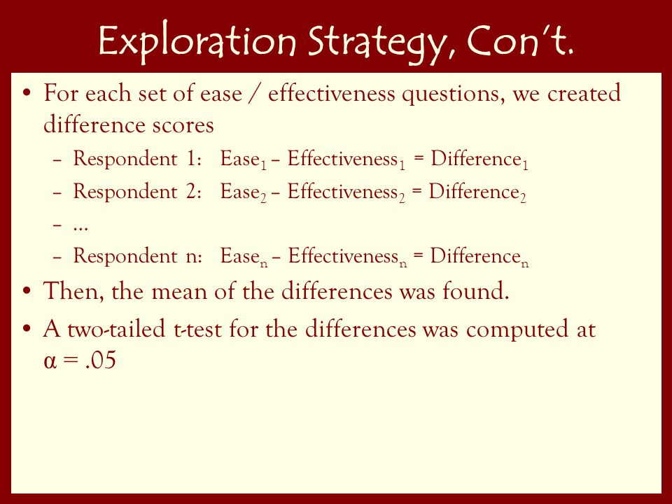 61 Exploration Strategy, Con't.