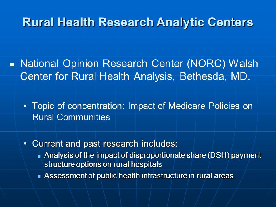 National Opinion Research Center (NORC) Walsh Center for Rural Health Analysis, Bethesda, MD.